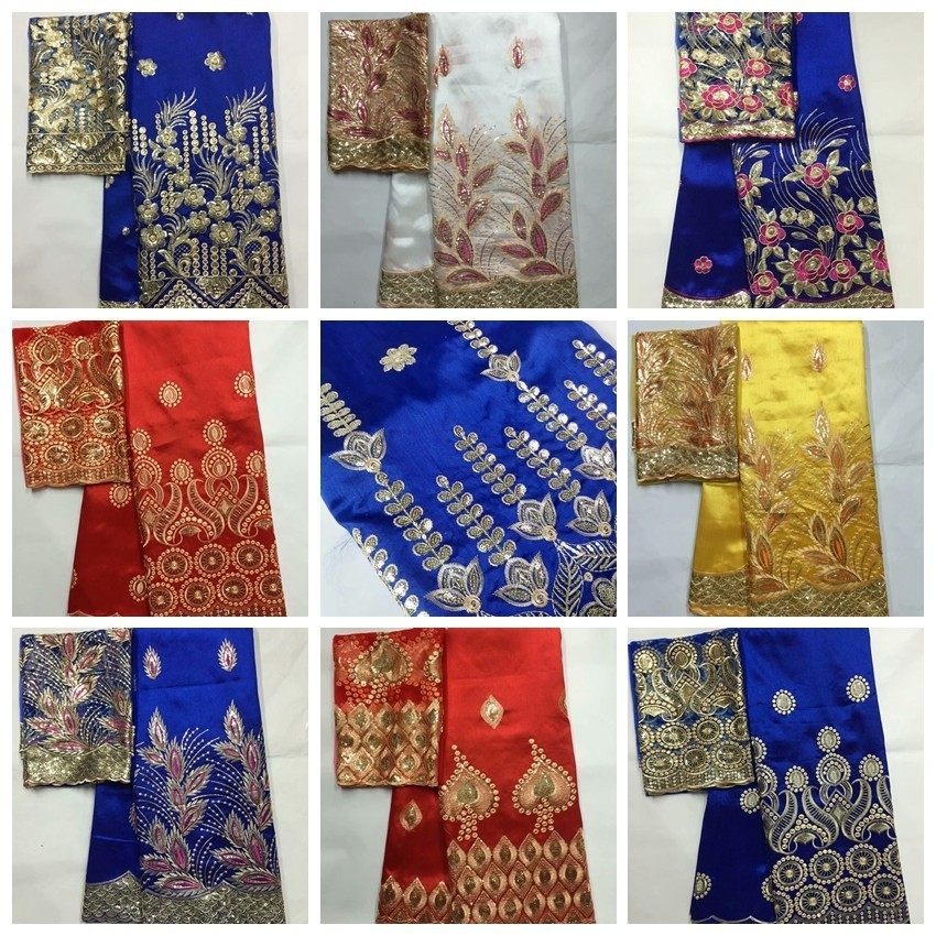 African George Fabric High Quality Indian Raw Silk George  Wrappers Hot Nigerian Lace Fabrics Set with Blouse for Wedding  5 2yardLace