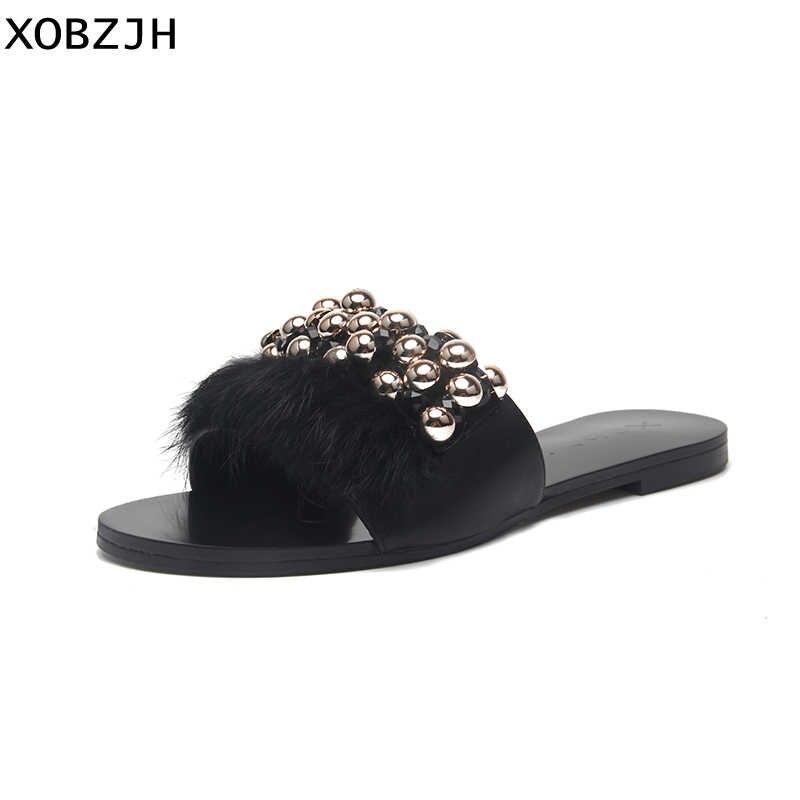 2019 zapatos de mujer moda de lujo hecho a mano hebilla de pluma Sandalias planas señoras verano fiesta negro zapatillas de cuero talla grande US11