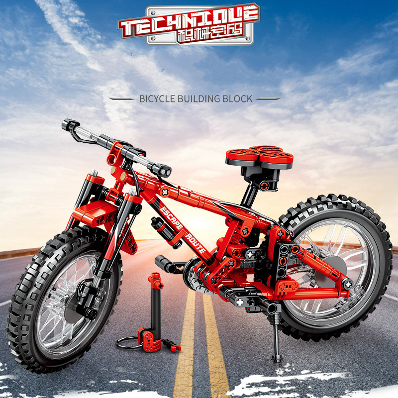 2019 Creative Small Particle Building Blocks <font><b>Cool</b></font> <font><b>Toys</b></font> <font><b>for</b></font> <font><b>Kids</b></font> Assembled Mountain Biking Bicycle Buy Two Sets Can Change Shape image