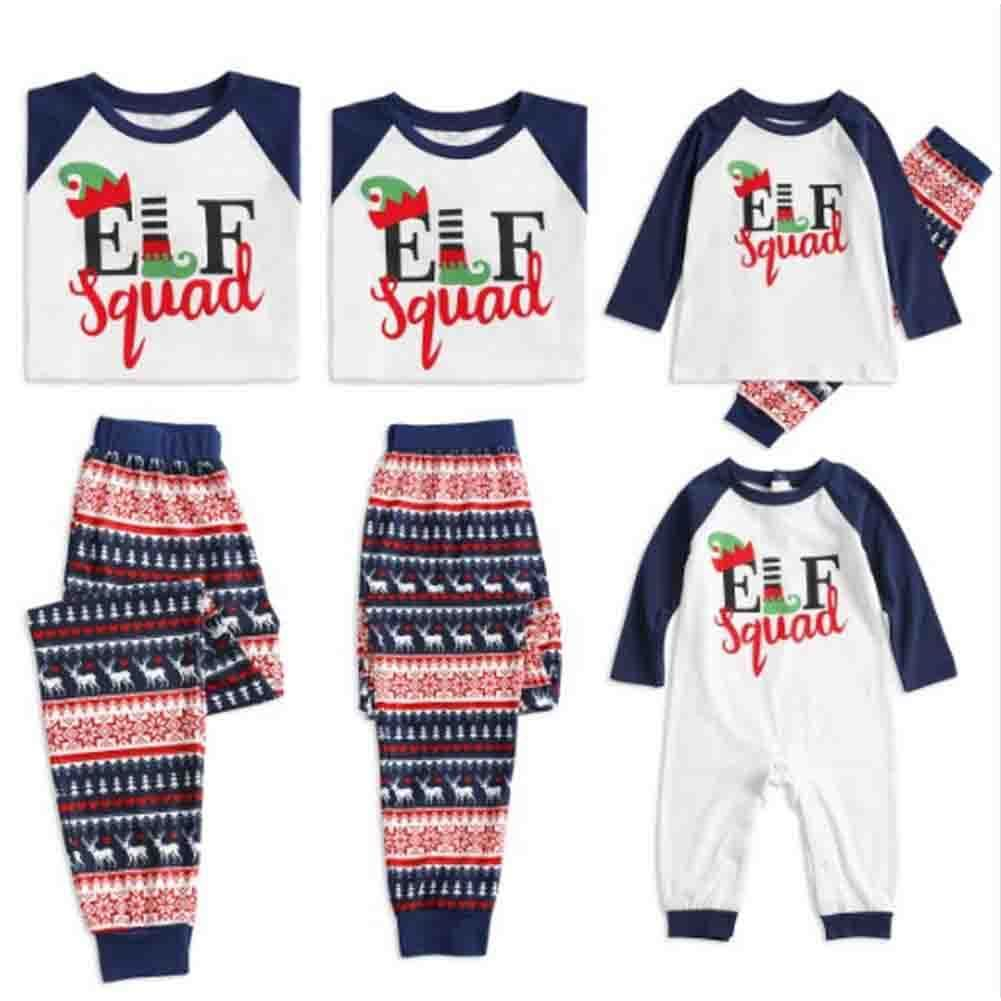 Xmas Family Matching Christmas Pajamas Set Women Baby Kids Sleepwear Nightwear