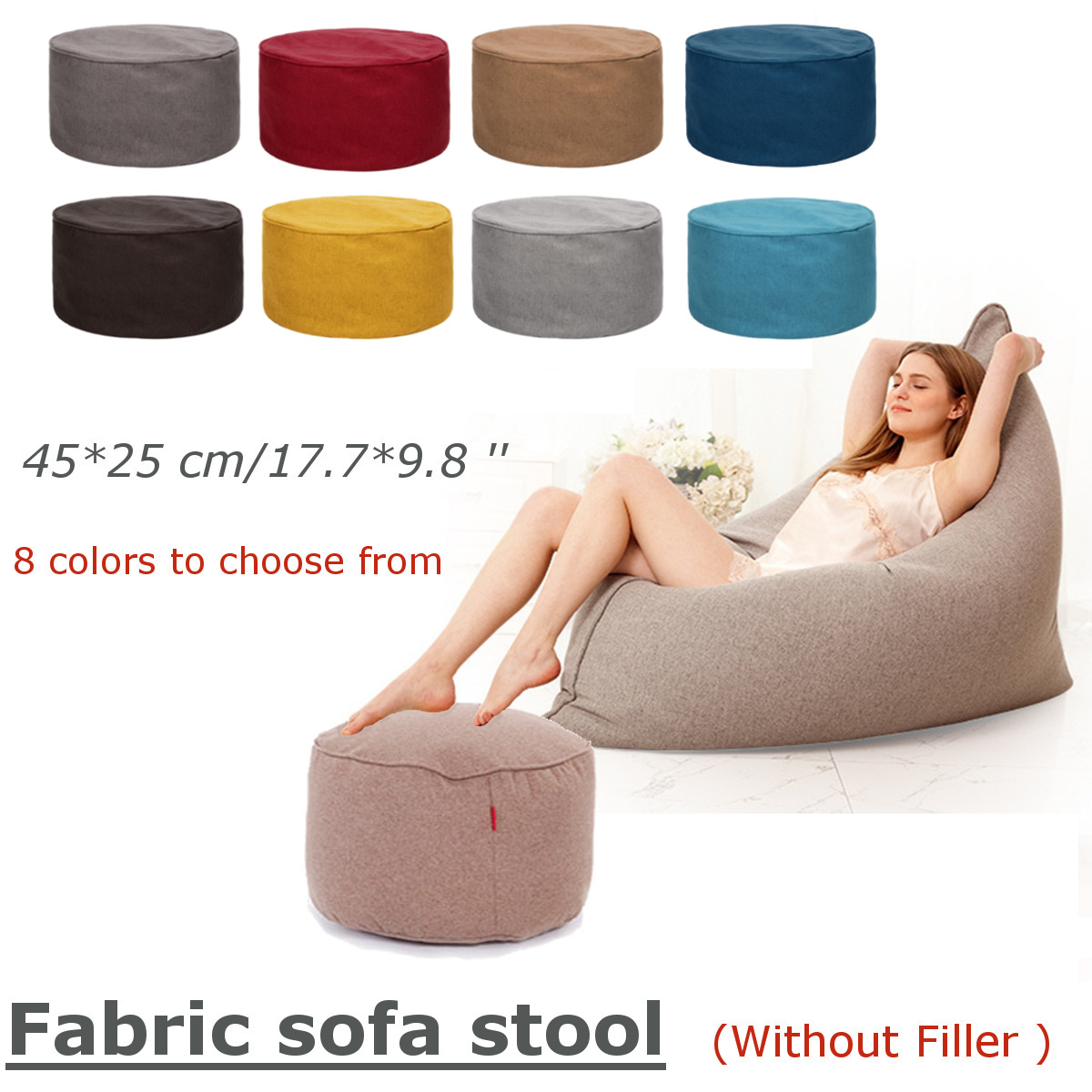 8 Colors Cotton Stool Cover Home Sofa Round Footstool Soft Bean Bags Sofa Lounger Washable Without Filler For Living Room Table