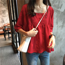 Lychee Girls Solid Color Women Blouses Shirts