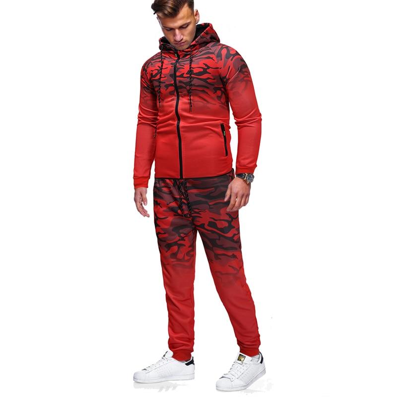 Sports suit men 39 s classic gradient camouflage sweatshirt trousers large size S XXXL men 39 s casual slim hooded sweatshirt suit in Men 39 s Sets from Men 39 s Clothing