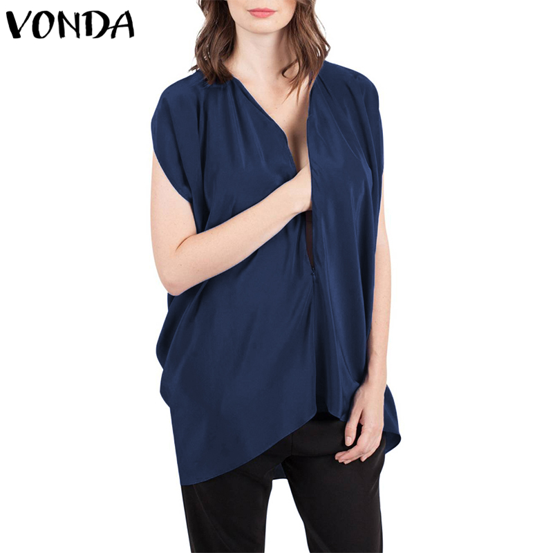 Plus Size Women Blouses 2018 Summer Sleeveless Zipper Up V-Neck Solid Shirts Casual Loose Plus Size Tops Blusas Femininas