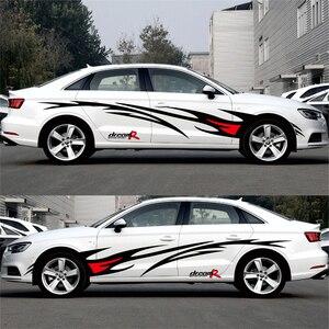 Image 4 - تصفيف السيارة سباق لهب الرسومات ملصقات السيارات السيارات الجسم غطاء ديكور الشارات لفورد فوكس 2 VW كيا ريو مازدا 3 سكودا كروز