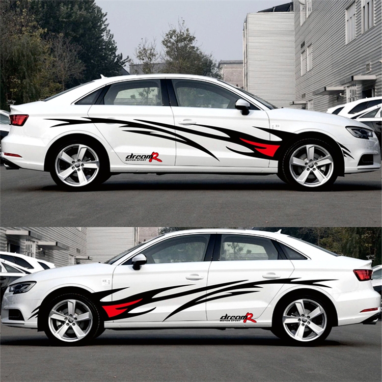 Image 4 - Car styling Racing Flame Graphics Car Stickers Auto Body Decor Cover Decals for FORD FOCUS 2 VW KIA RIO MAZDA 3 SKODA CRUZE-in Car Stickers from Automobiles & Motorcycles