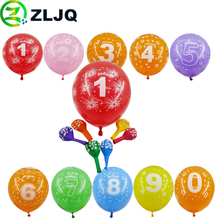 ZLJQ 20pcs Printing Number Balloons Child Birthday Party Decorations 12inch Latex Helium Balloon Wedding Home Decor Baby Show 7J