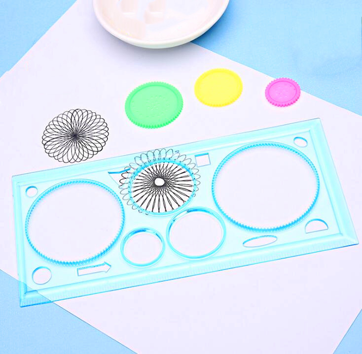 1pc Spirograph Drawing Ruler Set Creative Draw Spiral Design Educational Toys Children Kids Creative Painting Toys Random Color