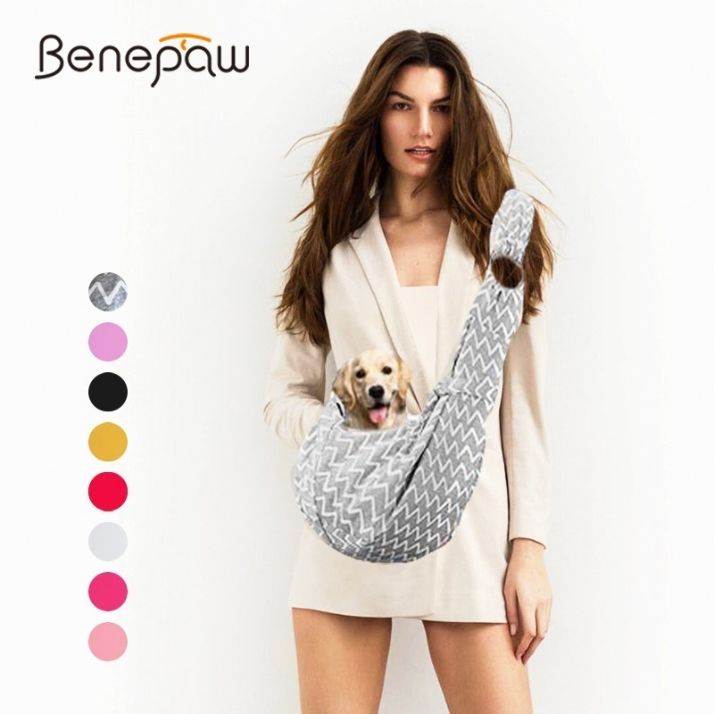 Benepaw Adjustable Two-side Useable Small Dog Sling Backpack Breathable Puppy Dog Travel Bag Pet Sling Carrier Security Lock