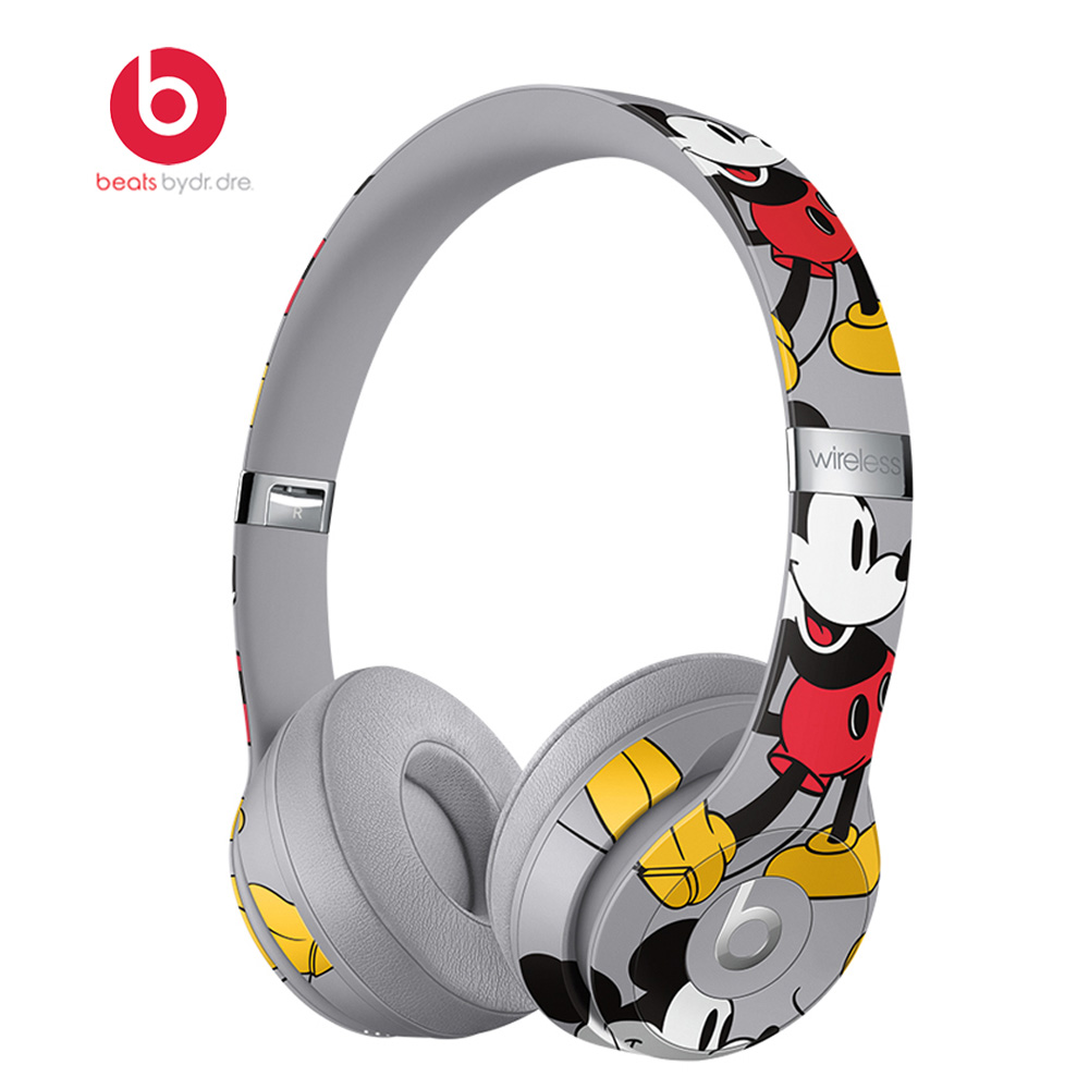 Beats Solo3 Wireless Bluetooth Headphones On Ear Headset Music Hands free with Mic Mickey s 90th