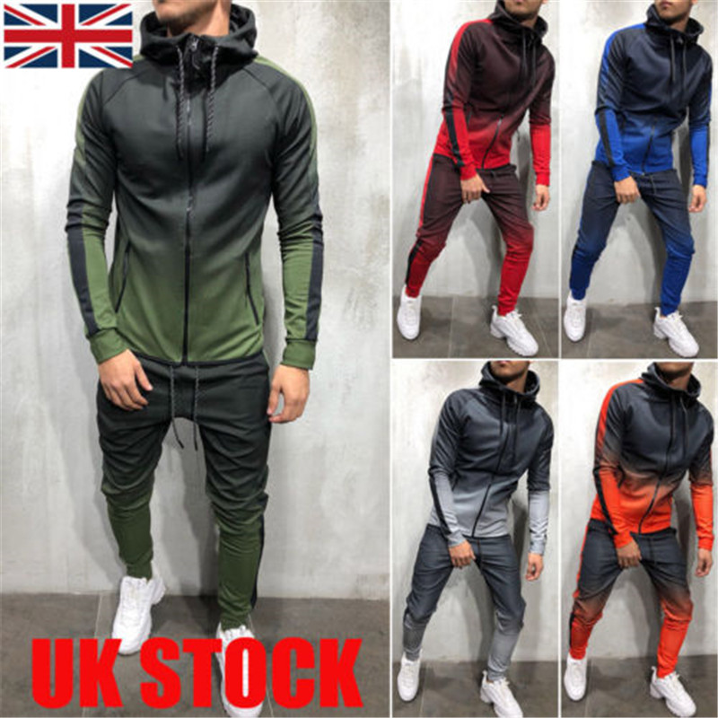 Men Sport Muscle Set Sportswear Zip Hoodie Sweater Gym Tracksuit Athletic Casual Apparel
