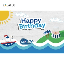 Laeacco sailboat Cake Baby Boy Birthday Party Photography Backgrounds Customized Photographic Backdrops For Photo Studio