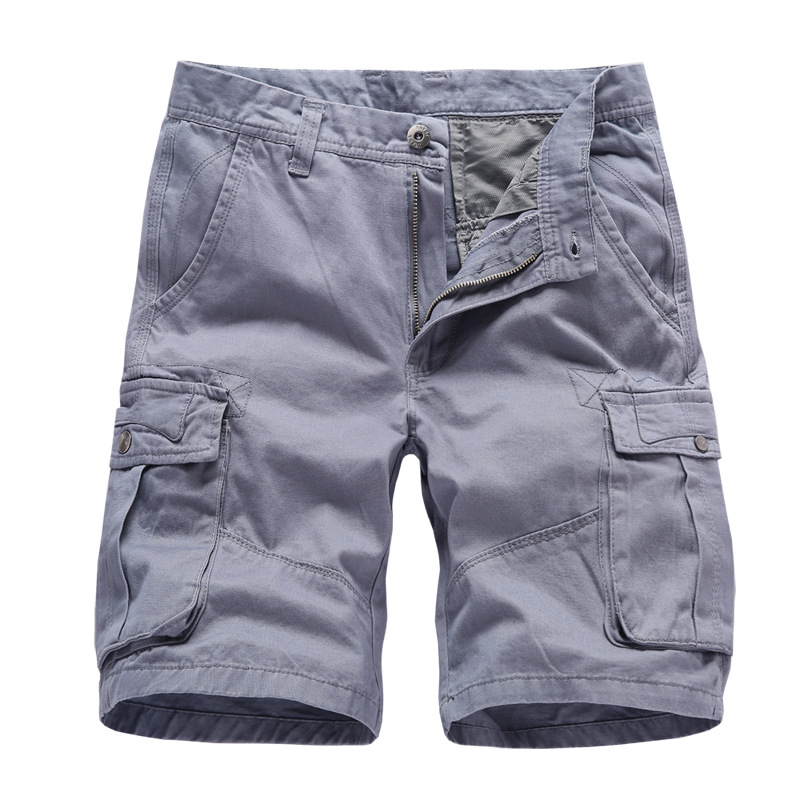 Short-Trousers Cargo-Shorts Work-Pockets Bermuda Vintage Summer Military-Style Male Straight