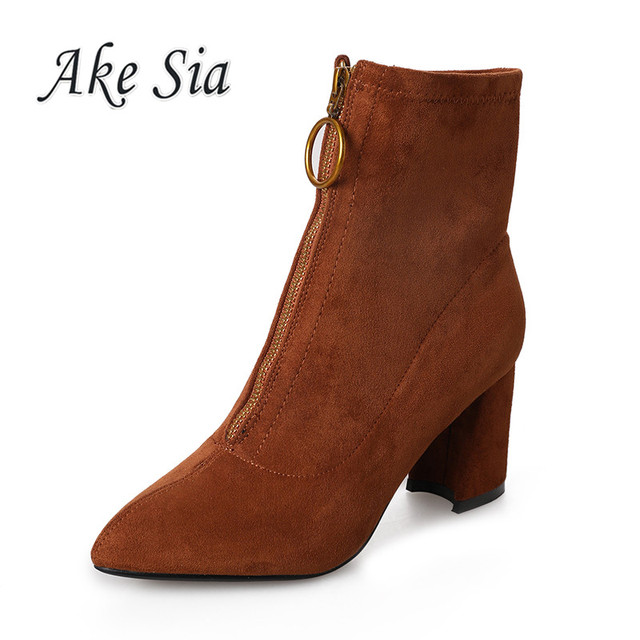 Booties female 2019 autumn winter new high-heeled fashion wild women boots sweet comfortable Square heel high-heeled boots k45