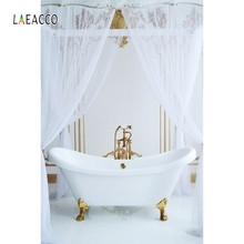 Laeacco Indoor Room Bath Curtain Scene Backdrop Photography Backgrounds Photocall Photographic Backdrops For Photo Studio