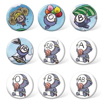 9 pcs/lot Anime Ketsuekigata Kun ABO Badges Toys Brooch Model Pins for gifts Size 58MM image