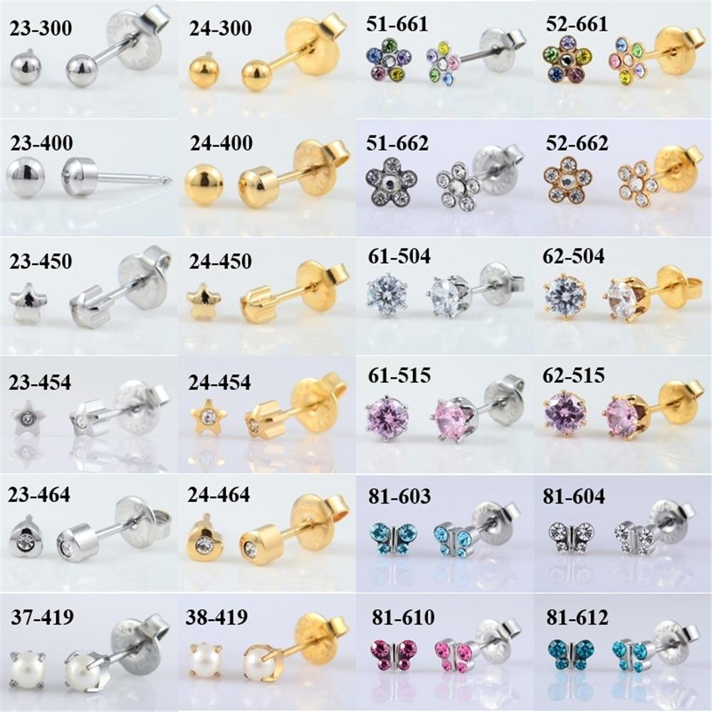 1 Pair Surgical Steel Ear Studs CZ Ball Heart Star Flower Crown Butterfly Sterilized Packaged Earrings Women Baby Gifts Jewelry