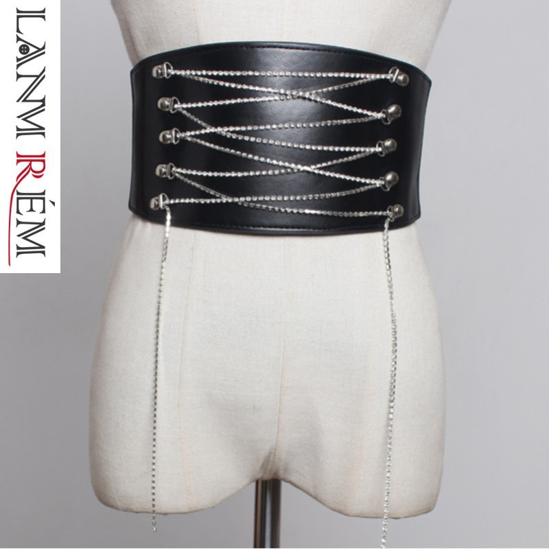 LANMREM 2019 Fashion New Exceed Wide Waist Cummerbunds For Woman Elastic Rhinestone Tassel Bandage Waist Blet All-match YH492