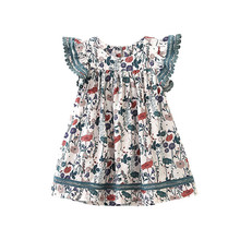 Bbay Girl Dress Floral Dress Elegant Flying Sleeve Summer Kid Beach Dress Children Clothing Kids Clothes Party Dresses girl dresses new surprise cartoon pattern flying sleeve big eye doll children s dress