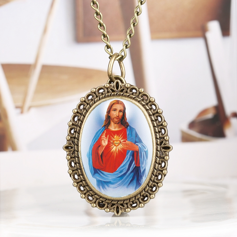 God Christ Cross Sacred Heart Of Jesus Brazil Redentor Christian Emmanuel Christ Jesu Easter Religious Watch Quartz Pocket Watch