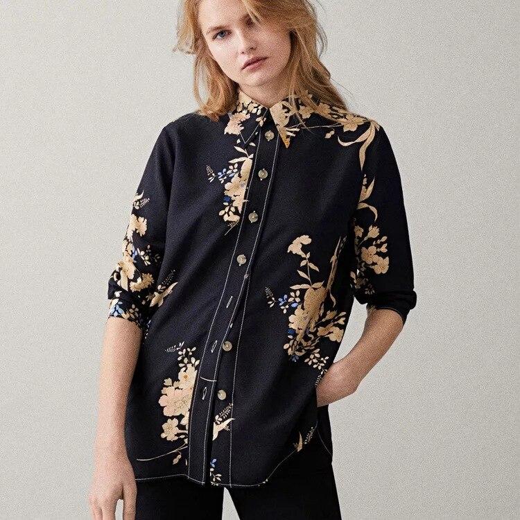 2019 الربيع و الصيف المطبوعة تنحنح الجانب الشق قميص-في بلوزات وقمصان من ملابس نسائية على  مجموعة 1