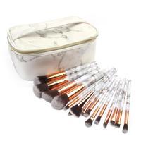 Pro 15 шт./компл. набор кистей для макияжа мраморная Ручка тени пудра составляют щетки лица Косметика Красота ручки инструменты