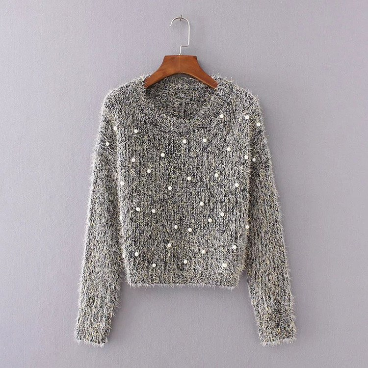 2018 Women Sweater Pearl Beading Long Sleeves Sweater Solid O Neck Knit Pullover Beaded Jumper Sweaters Top