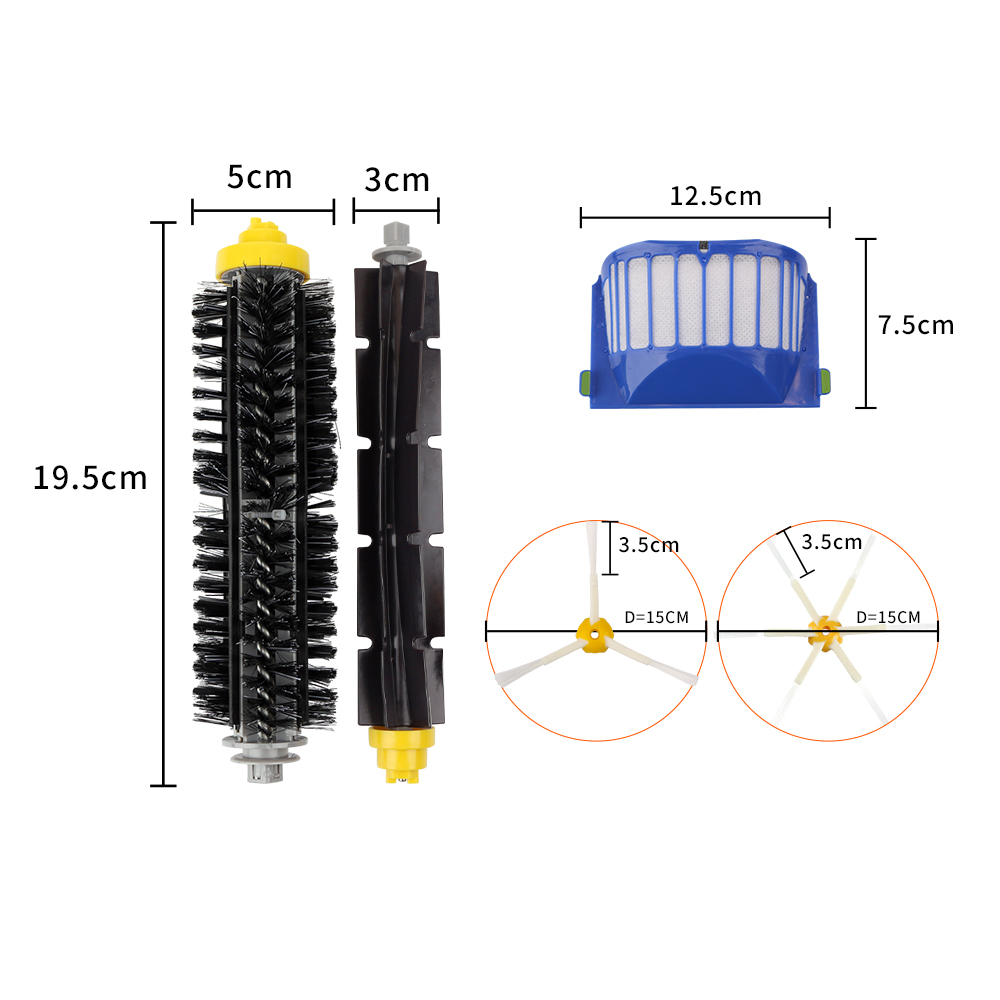 Replacement Parts Kit Bristle Flexible Beater Brush Armed Side Brush Filters for iRobot Roomba 600 Series 614 620 630 650 660 in Vacuum Cleaner Parts from Home Appliances