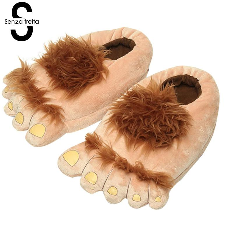 Winter Slippers Women Warm Thick Home Cotton Shoes Chic Funny Big Feet Hobbit Feet Plush Slipper Womens Trendy Non-slip Ladies Shoes