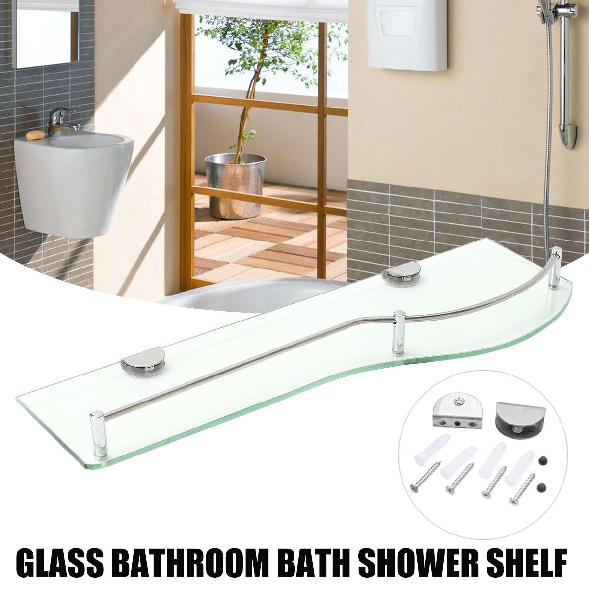 Us 20 17 8 Off Bathroom Shower Glass Shelf Storage Wall Mounted Glass Shelf For Bathroom Products Towel Toothbrush Cup Shelf In Bathroom Shelves