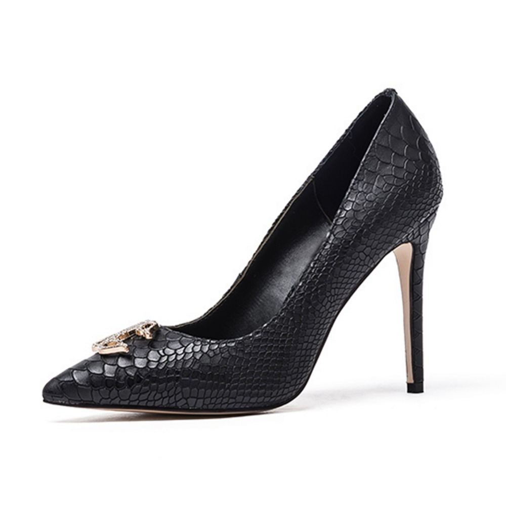 Pointu carrière Femmes Talon Noir Pompes Slip De Stiletto Dame Black Casual Chaussures Haut Chaude Robe Pour Serpent Bout Pompe Mariage on TXdZ1qP