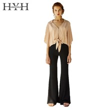 HYH HAOYIHUI Women Draped Thread Slim Slimming Flared Pants Office Lady Temperament Commuting  Boot Cut Trousers