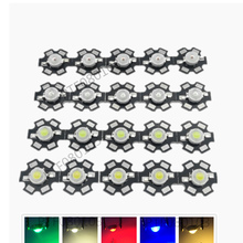 50pcs 1W 3W High Power LED Full Spectrum White Warm white Green Blue Deep Red 660nm Royal blue IR UV With 20mm Black Star PCB 50pcs 1w 3w high power warm white cool white natural white red green blue royal blue 660 uv ir850 940 led with 20mm star pcb