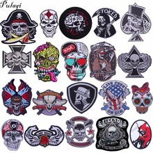 Pulaqi punk embroidered patches sticker badges sew on iron-on embroidery decor for jeans clothing Hat backpack skull patch H