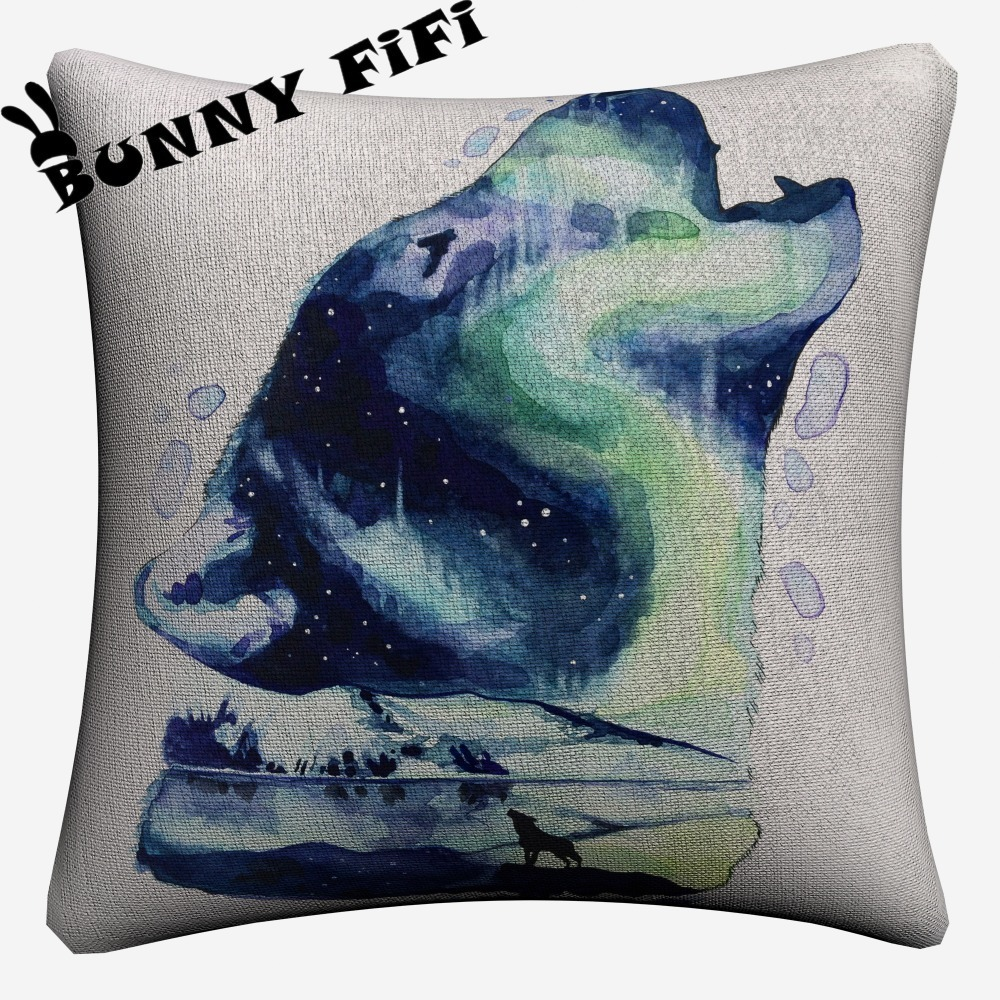 Splatter Wolf Watercolor Soft Cotton Linen Cushion Covers 45x45cm Vintage Pillowcase For Sofa Home Decoration in Cushion Cover from Home Garden