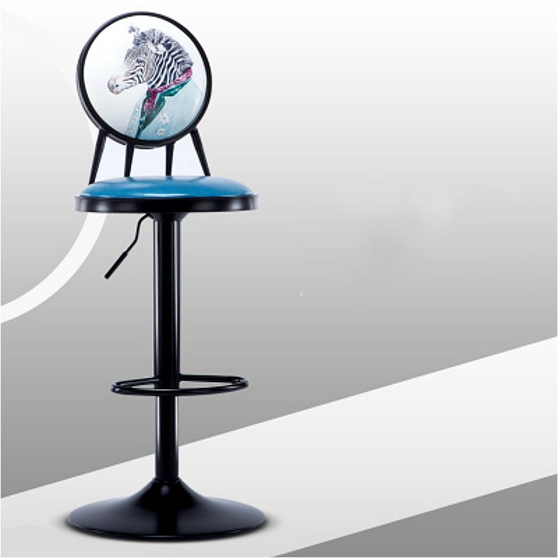 European Style Iron Bar Chair Lifted Rotated Retro Printing High Stool with Backrest Multi-purpose PU Seat Front Desk ChairEuropean Style Iron Bar Chair Lifted Rotated Retro Printing High Stool with Backrest Multi-purpose PU Seat Front Desk Chair