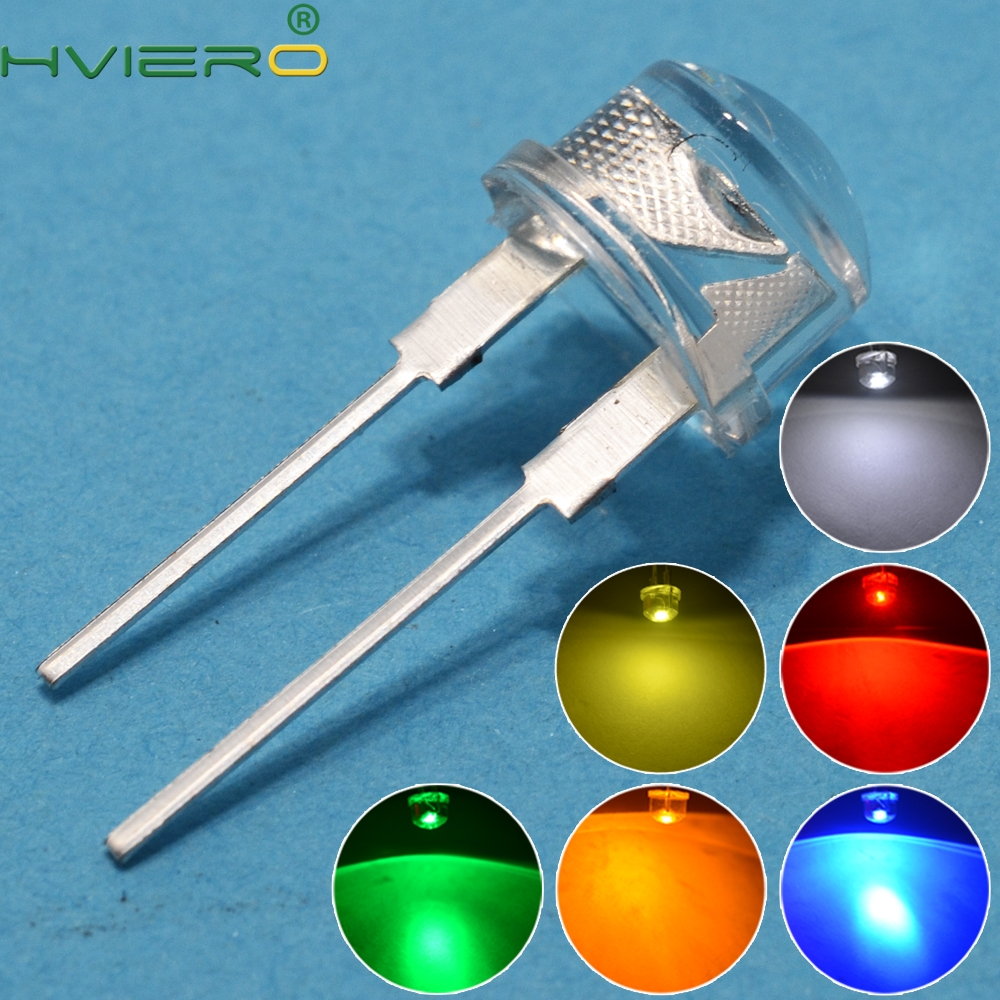 50pcs 8mm 0.5W White Red Yellow Blue Green Diode Led Power Straw Hat Lamp Bead Light Emitting Diodes Lamp Bulb Bright Light