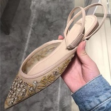 Big Sale Women Flats Pointed Toe Ankle Cross Strap Lace Embroidery Ballet Flats Real Photo Wedding Ballerinas Drop Shipping criss cross pointed toe suede flats