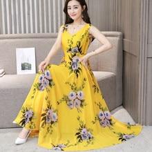 купить Summer Vest Dress 2019 Sexy V Neck Women Floral Printing Sleeveless Chiffon Dresses Bohemia Beach Party Dress Vestido Plus Size онлайн