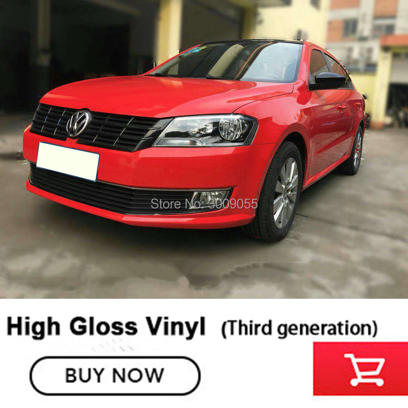 Third generation Gloss Red Glossy Vinyl Film Gloss Gloss Red Wrap Bubble Free Car Wrapping Car
