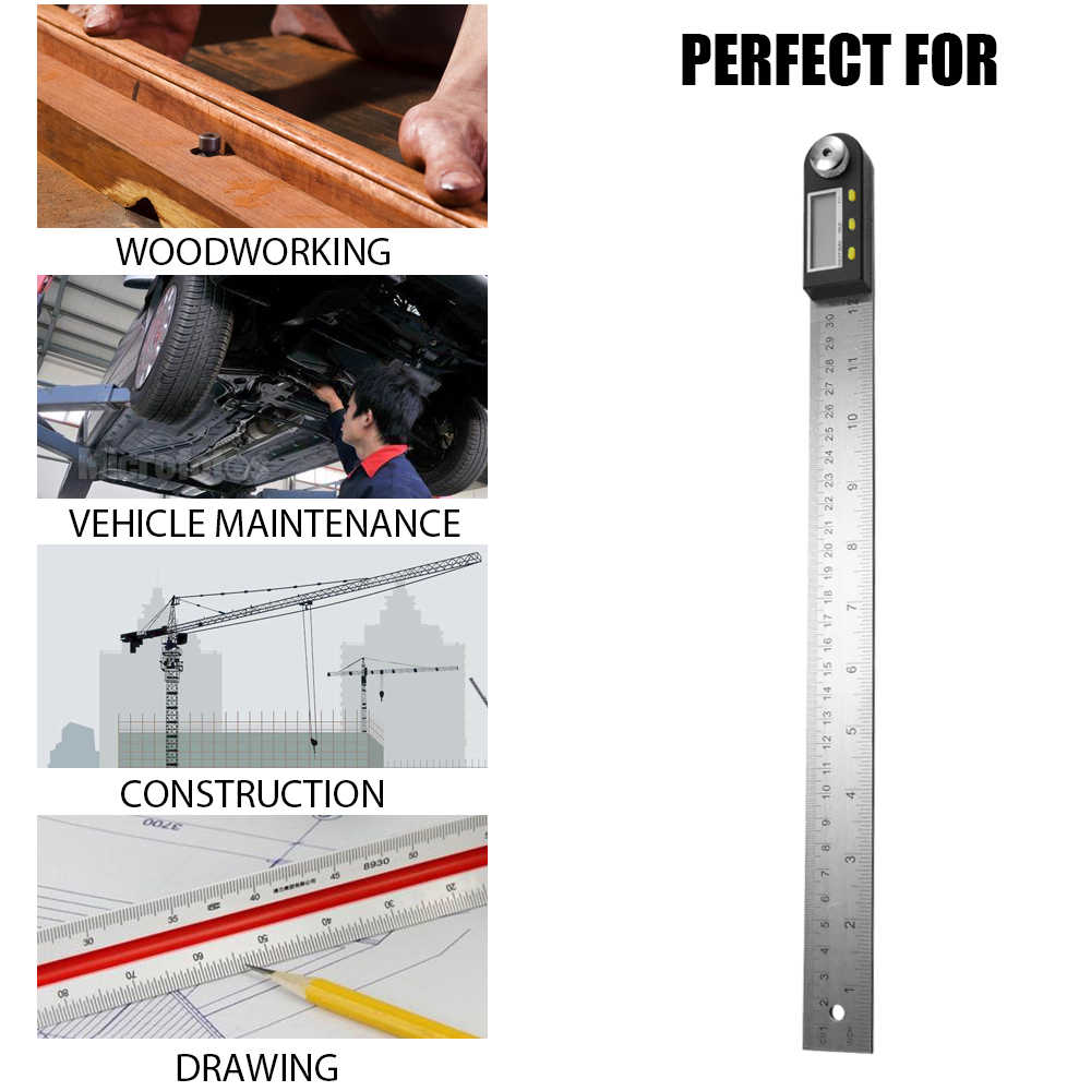 2 In 1 Stainless Steel Elektronik Busur Derajat Digital Display 200/300/500 Mm Busur Derajat Sudut Finder Penguasa untuk alat Ukur