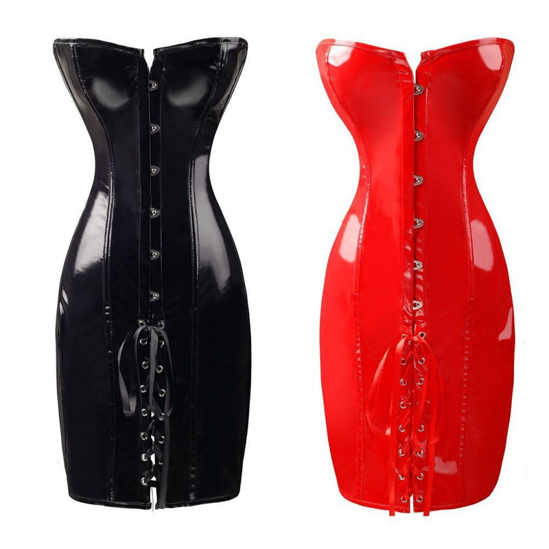Ladies Black Red Strapless Overbust Corset Dress Nigthclub PVC Leather Lace Up Back Sexy Waist Shape Knee-length Bustier Dresses