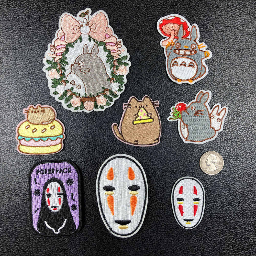 PGY Japan Anime Totoro Embroidered Iron On Patch DIY No Face Man Embroidery Handmade Crochet Sew On Patch Clothes Appliques