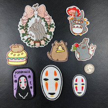 PGY Japan Anime Totoro Embroidered Iron On Patch DIY No Face Man Embroidery Handmade Crochet Sew Clothes Appliques