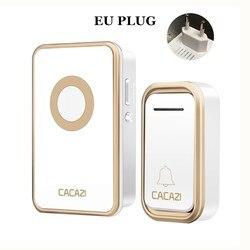 CACAZI 방수 홈 무선 Doorbell 300 메터 Remote LED 빛 제품이시랍니다 ~~ 신축성 벨 배터리 Control Button 38 곡 3 권 US EU Plug