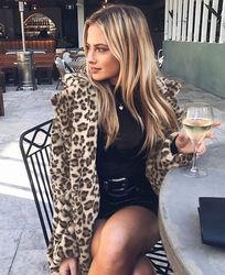 Hirigin 2018 najnowszy Hot kobiet zima Leopard puszysty polar kurtka płaszcz swetry rozpinane z kapturem Jumper topy Clubwear 5