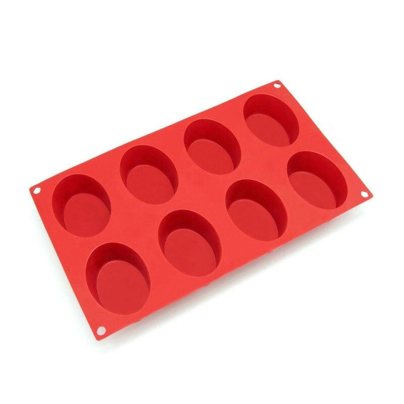 8-полости Овальный силиконовые формы для мыла, торт, хлеб, кекс, ватрушки, кукурузный хлеб, булочки, домовенок, и более