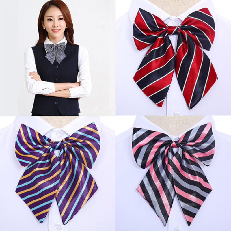 Sale Women Cravat Stewardess Bow Ties Vintage Silk Striped Bowties Butterfly 2019 New Neck Wear Accessories