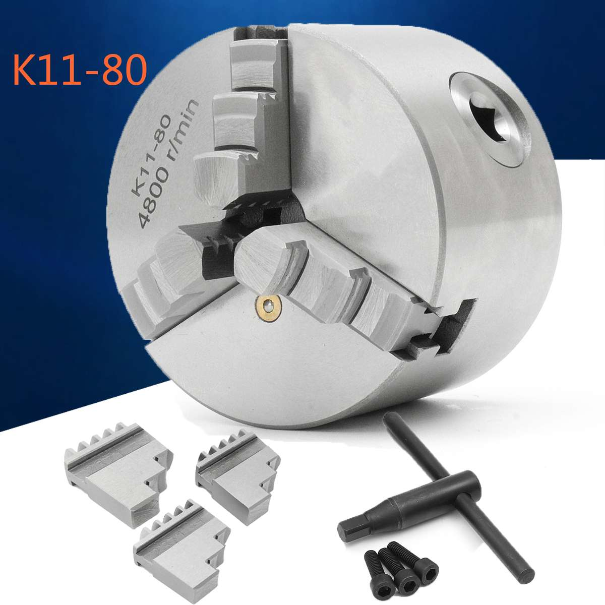 WOLIKE K11-80 4800rpm Chuck 3 Jaw Self Centering Lathe Chuck 80mm Metal Tools Accessories for Drilling Milling MachineWOLIKE K11-80 4800rpm Chuck 3 Jaw Self Centering Lathe Chuck 80mm Metal Tools Accessories for Drilling Milling Machine