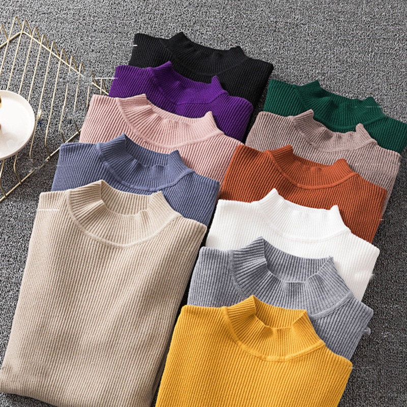 Winter Knitting Sweater Pullovers Women Long Sleeve Tops Turtleneck Knitted Sweater Chic Woman Clothes Female Casual